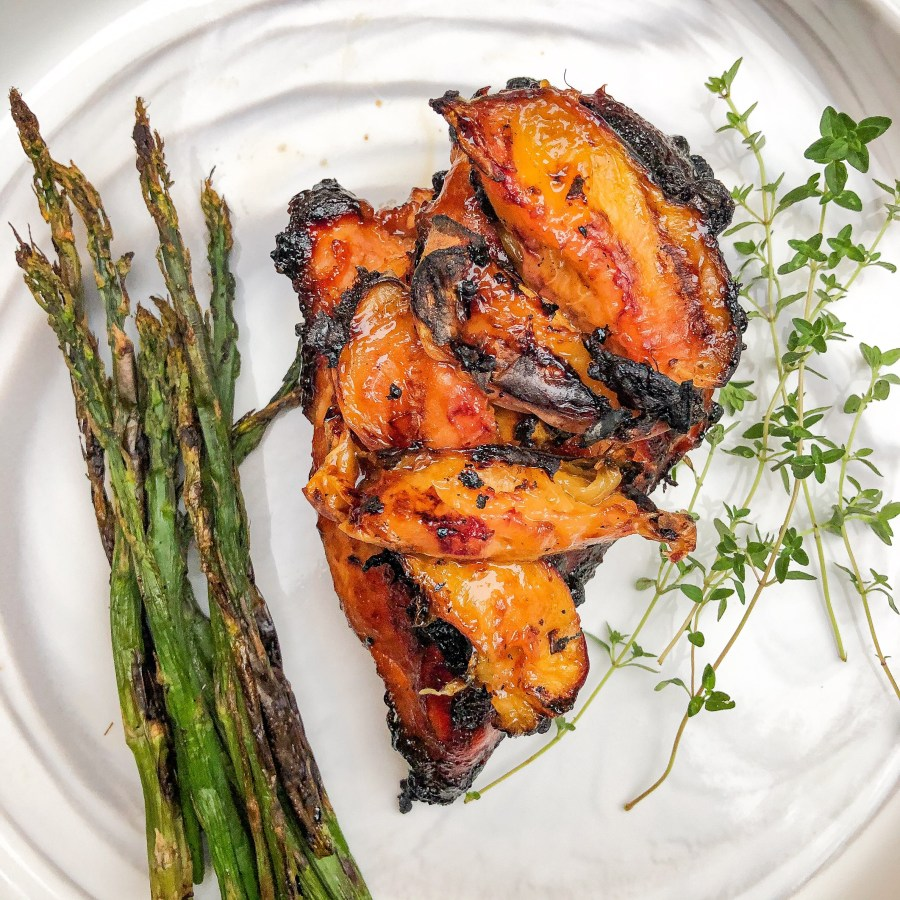Grilled Peach and Teriyaki Chicken with Grilled Asparagus